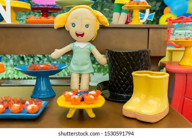 Florianopolis - Brazil, October 2, 2019: Characters from Bita World. Colorful theme for kids party. This doll is made of felt.