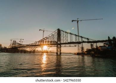 Florianopolis, Santa Catarina, Brazil - June, 2019. The sunset at the Herlicio Luz Bridge.