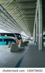 Florianopolis - SC, Brazil - December 26, 2018: Bus terminal called Terminal Rodoviario Rita Maria (Rodoviaria de Florianopolis). Buses on disembarkation.