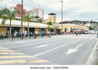 Florianopolis - SC, Brazil - December 26, 2018: Popular market in downtown called Camelodromo Municipal de Florianopolis (Floripa Center) besides the Mercadao, Mercado Publico de Florianopolis.