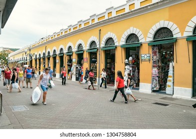 Florianopolis - SC, Brazil - December 26, 2018: Outdoors of Mercado Publico de Florianopolis (Mercadao). Touristic Place.