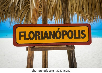 Florianopolis sign with beach background