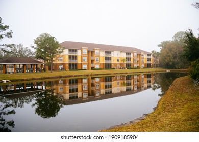 Florida apartment and pond reflection