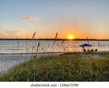 Florida beach at sunset.