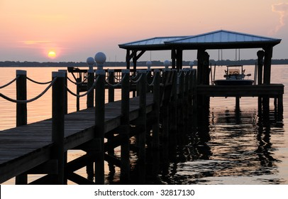Florida Boat Dock at Sunrise Along the Indian River