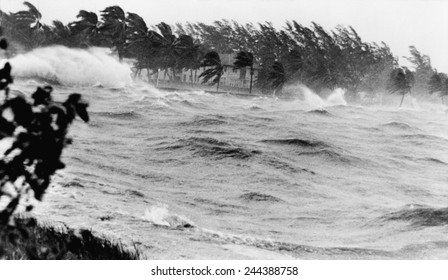 Florida coastline pounded by Hurricane # 9 of the 1945 hurricane season, the second category four storm of the season. From September 12-18 it traveled from the Bahamas into Florida and East Coast.