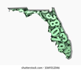 Florida FL Map Numbers Math Figures Economy 3d Illustration