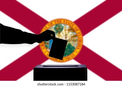 Florida flag with ballot box during elections / referendum