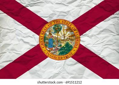 Florida Flag on crumbled Paper Sheet
