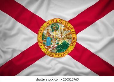 Florida flag on the fabric texture background,Vintage style