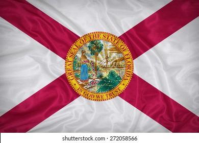 Florida flag on fabric texture,retro vintage style