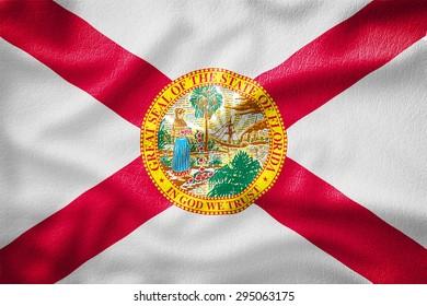 Florida Flag painted on leather texture,vintage style