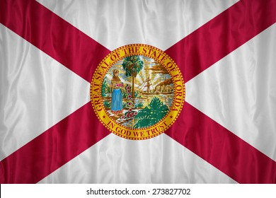 Florida flag pattern with a peace on fabric texture,retro vintage style