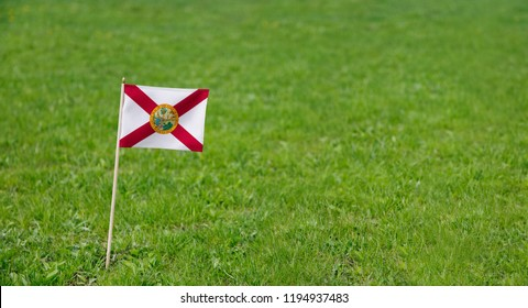 Florida flag. Photo of Florida state flag on a green grass lawn background. Close up of state flag waving outdoors.
