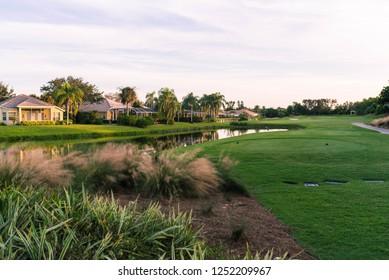 Florida golf community at sunset