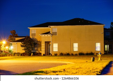 A Florida house at night, taken in Tampa