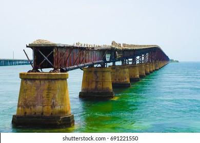 Florida Key's Historic Overseas Highway And  Broken Railway