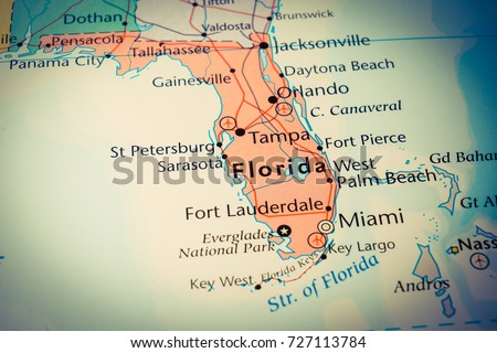 Georgia And Florida Map.Florida Map Stock Photo Edit Now 727113784 Shutterstock