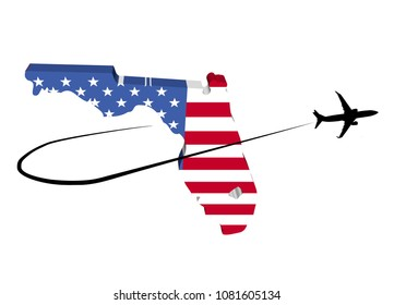 Florida map flag with plane silhouette and swoosh 3d illustration