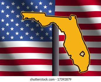 Florida map sign and rippled American flag illustration