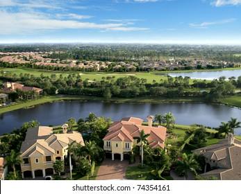 Florida Neighborhood Overlooking Golf Course