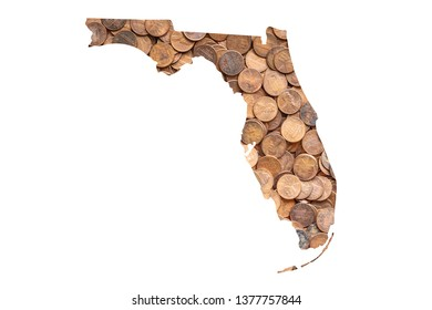 Florida State Map and Money, Piles of Coins, Pennies
