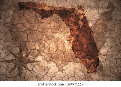 Florida state map on vintage usa map, crack paper background