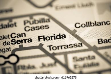 Florida Station. Barcelona Metro map.