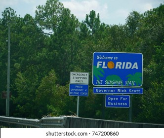 FLORIDA, UNITED STATES—AUGUST 2015: Welcome sign to Florida at Perdido River, bust off the Alabama State line.