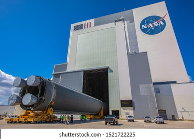 Florida, United States, October 2019: Long Space Launch System (SLS) Rocket Core Stage Pathfinder Is Moved Into The Vehicle Assembly Building At NASA's Kennedy Space Center. Images Courtesy Of NASA