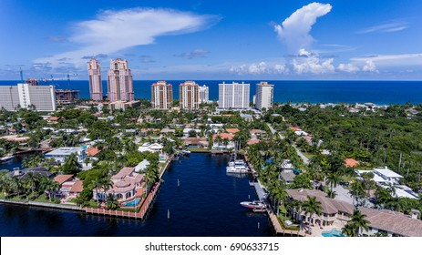 FLORIDA USA: Aerial view showing beautiful homes, buildings, and the ocean.