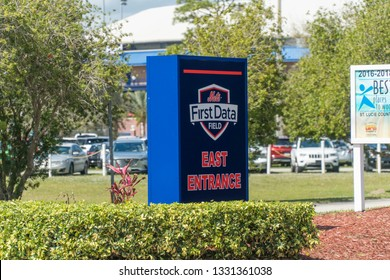 Florida, USA - Circa 2019: First Data Field entrance sign outside New York Mets spring training camp facility on a bright warm day in Port St. Lucie.