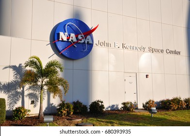 FLORIDA, USA - DEC 20, 2010: NASA sign on the John F. Kennedy Space Center in Florida, USA.