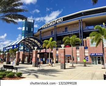 Florida, USA - February 2019: New York Mets spring training ballpark exterior stadium view of First Data Park in Port St Lucie Florida on a clear day. Start to baseball season Major League Baseball.