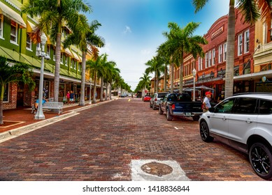 Florida, USA - February 25, 2019: Beautiful First street in old town Fort Myers
