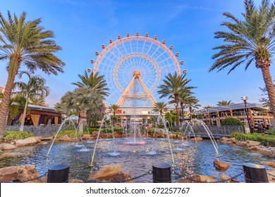 FLORIDA, USA - JANUARY 05, 2016: The Orlando Eye on International Drive, The orlando eye is a 400 feet tall ferris wheel in the heart of Orlando on the east coast, United States