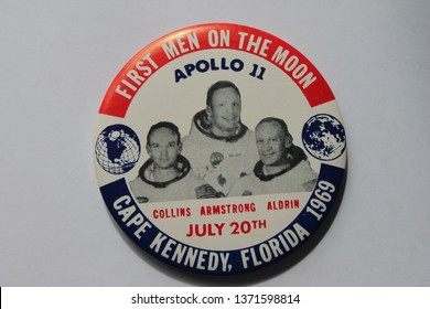 "Florida, USA- july 20th 1969; Moon walk, badge pin Cape Kennedy, to celebrate first man to walk step on the moon ""1 small step for man 1 giant leap for mankind"" -stock, photo photograph image picture"