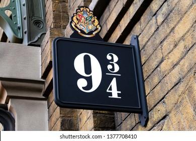 FLORIDA, USA - March 7, 2019 - Universal Studios, Florida, platform 9 3/4 sign at King's Cross station of the Hogwarts Express to Diagon Alley