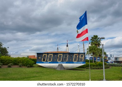 FLORIDA, USA - NOVEMBER 2019: The countdown clock at NASA's Kennedy Space Center Visitor Complex. It was designed in 1960s and has been counting down launches since the Apollo 12 moon landing mission.