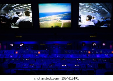 FLORIDA, USA - NOVEMBER 2019: The Firing Room Theater, with the countdown for Apollo 8 facing the actual consoles used during the Apollo launches  at the John F. Kennedy Space Center