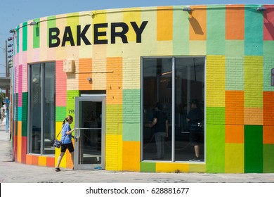 FLORIDA--APRIL 26, 2017: Customer entering Zak The Baker bakery in Wynwood. Zak the Baker is an up and coming trendy kosher bakery in the art neighborhood., miami