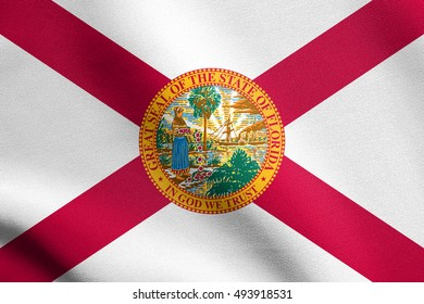 Floridian official flag, symbol. American patriotic element. USA banner. United States of America background. Flag of the US state of Florida waving in the wind with detailed fabric texture