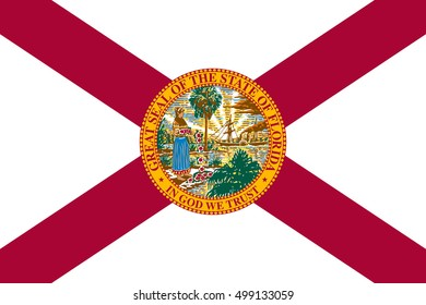 Floridian official flag, symbol. American patriotic element. USA banner. United States of America background. Flag of the US state of Florida in correct size and colors, illustration