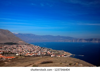 "FLORINA, MACEDONIA, GREECE. Panoramic view of Agios Panteleimonas village and Vegoritida (or ""Vegoritis"") lake."