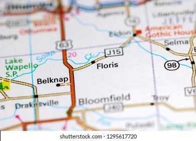 Floris. Iowa. USA on a map
