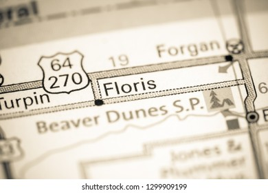 Floris. Oklahoma. USA on a map