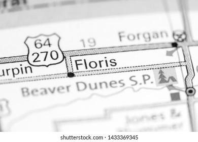 Floris. Oklahoma. USA on a map