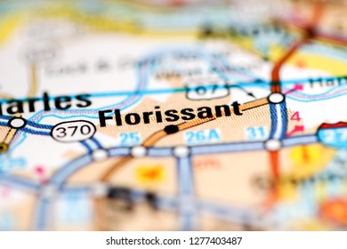 Florissant. Missouri. USA on a geography map