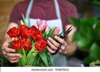 Florist with scissors arranging tulip bouquet