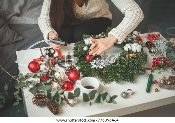 Florist Woman Making Christmas Decorations Home Holidays